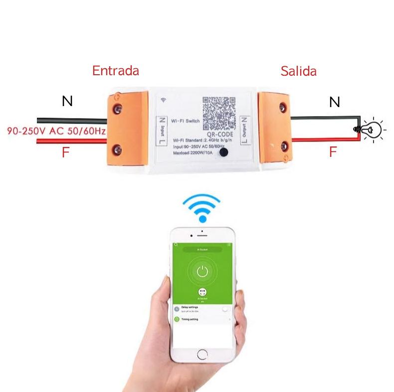 RELE CONTROL REMOTO WIFI 100V A 220V IOS ANDROID 10A