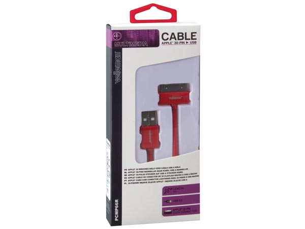 CABLE LIGHTNING (30 CLAVIJAS, MACHO) A USB A ROJO 1M