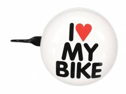TIMBRE DE BICICLETA I LOVE MY BIKE Ø 8 CM COLOR BLANCO