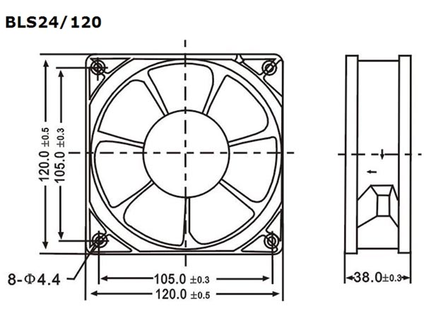 VENTILADOR 24VDC COJINETE LISO 120 X 120 X 38MM