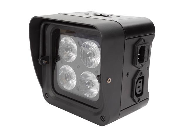 FOCO LED SUELO MONTAJE EN BARRA 4 X LED RGB-UV DE 4W NEGRO