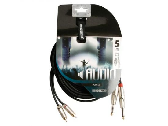 CABLE 2 X RCA MACHO A 2 X JACK MONO 6.35MM