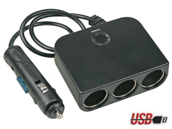 CONECTOR MECHERO 4 EN 1 CON SALIDA USB