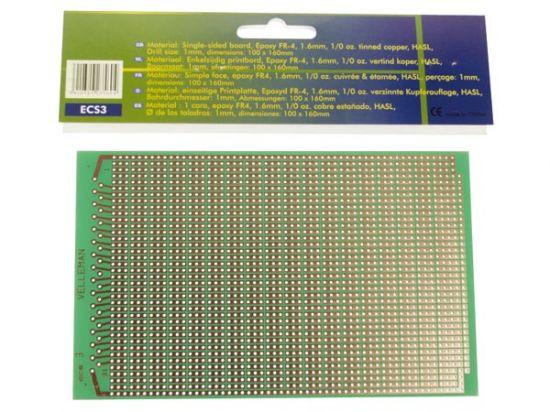 PLACA EUROCARD 3 AJUGEROS - 100x160mm - FR4 (25 uds./caja)