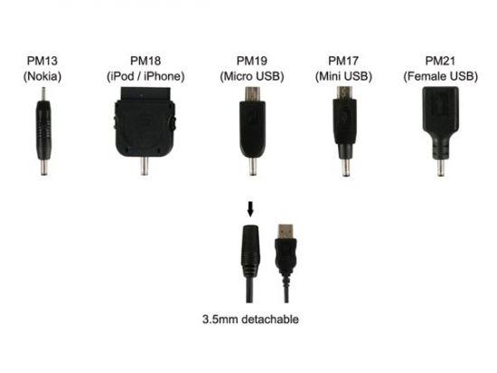 CABLE DE RECARGA USB A CONECTOR 3.5MM HEMBRA + 5 CONECTORES