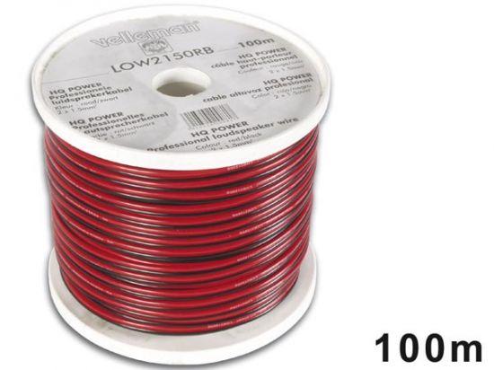 CABLE ALTAVOZ CCA 2 x 1.50mm² ROJO/NEGRO BOBINA: 100m