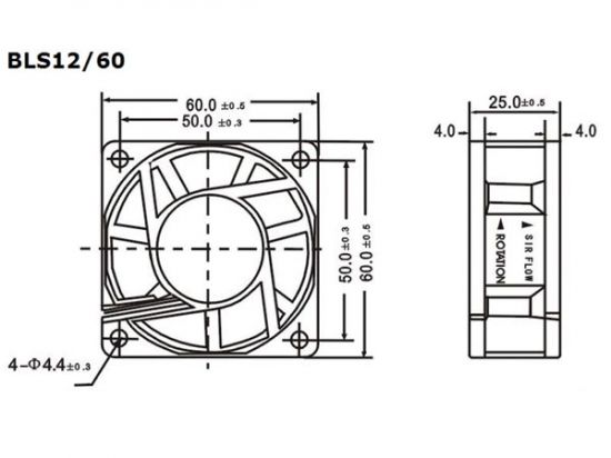 VENTILADOR 12V DC COJINETE LISO 60X60X25MM