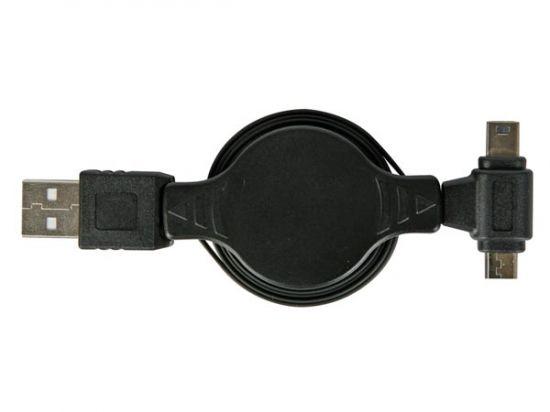 ADAPTADOR RECARGA USB A MICROUSB + MINI USB ENROLLABLE