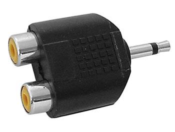 DOBLE CONECTOR RCA HEMBRA A JACK MACHO MONO 3.5mm
