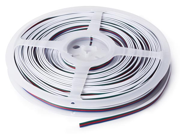 CABLE RGB PARA CINTAS LEDS 4 CONDUCTORES 4 X 0.33 MM² 25 METROS