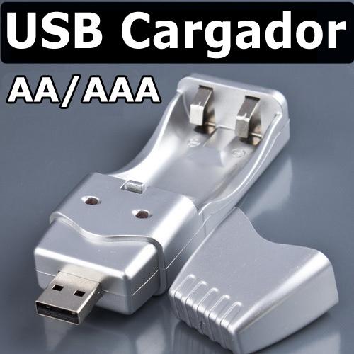 CARGADOR PILAS POR USB AA Y AAA RECARGA