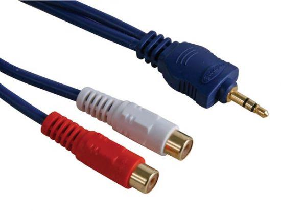 CABLE AUDIO JACK ESTÉREO MACHO 3.5MM A 2 X RCA HEMBRA 0.2M