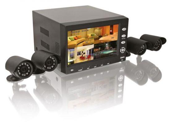 JUEGO DE VIGILANCIA 7 LCD: VIDEOGRABADORA DIGITAL H264 + 4 CÁMARAS + DISCO DURO