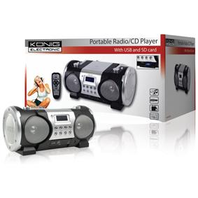 RADIO/CD PORTáTIL CON PUERTO USB Y RANURA PARA TARJETA SD KöNIG