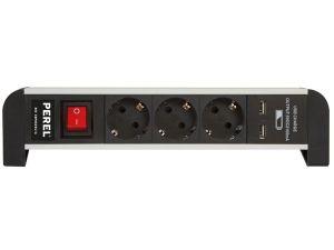 BASE MÚLTIPLE DE SOBREMESA 3 TOMAS 2 PUERTOS USB
